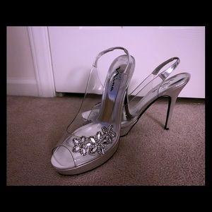 Clear & silver rhinestone heels